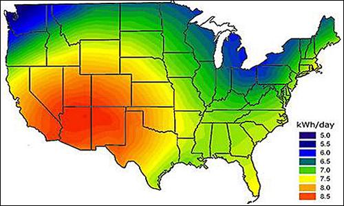 us solar radiation usa solar map